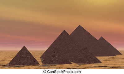 Pyramids in Egypt - 3D render
