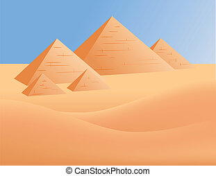 Pyramids in Egypt - Pyramids and desert in Egypt. Vector...