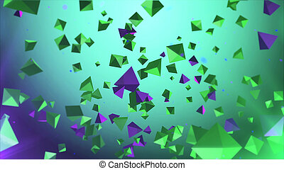 Pyramids in the air with green background