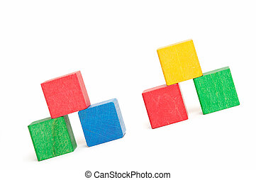 pyramids of color blocks