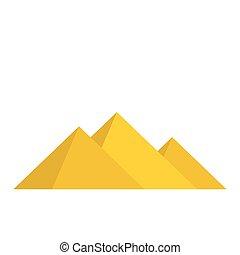 Pyramids of Egypt icon, flat style
