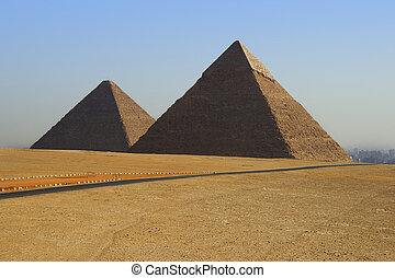 Pyramids of Egypt - two of the great pyramids on the giza...