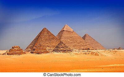 , pyramids, of, giseh, египет