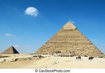Beautiful Egyptian pyramids Giza, Khafre's and Menkaure