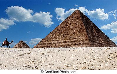 Pyramids of Giza, Egypt - A man riding a camel walks past...