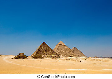 pyramids of Giza in Cairo, Egypt. - pyramids with a...