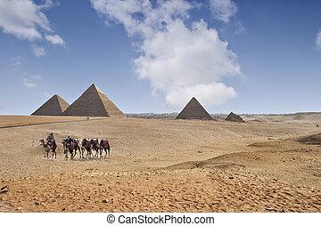 Pyramids of Giza - The great pyramids of Giza in Cairo,...