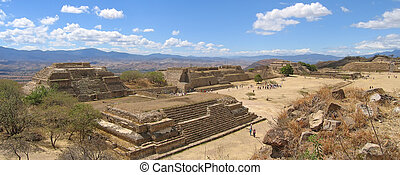 Pyramids of Monte Alban old mountain city , Mexico , Panorama