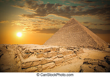 pyramids of the pharaohs in Giza. Cairo, Egypt