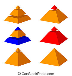 Pyramids. - Six pyramids on a white background. Pyramids of...