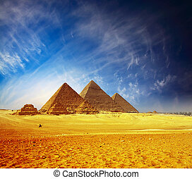 Pyramids - Great pyramids in Giza valley. Egypt