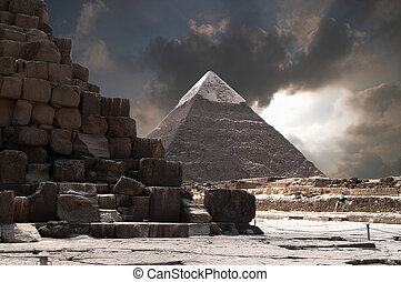 Pyramids Storm - Pyramid of Chefren with stormy sky.