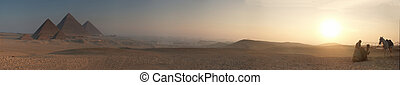 Pyramids sunrise blur 5000x878 pixels Larger available.