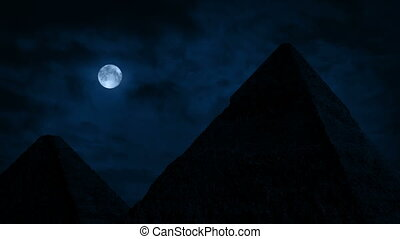 Pyramids Under A Full Moon - The pyramids of Giza on...