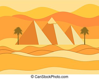 pyramids., vector, egyptisch