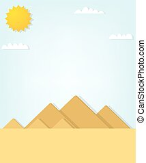 pyramids., vettore, paesaggio, egiziano