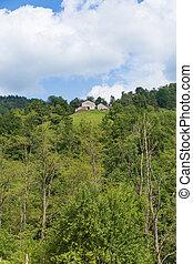 pyrenees, mały, stodoła, górny, pagórek