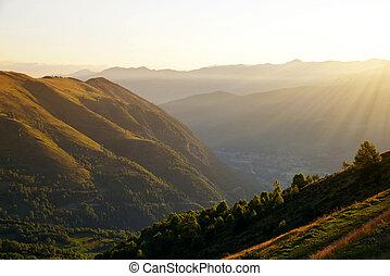 Pyrenees mountain at sunrise.