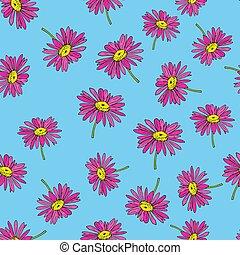Pyrethrum daisy seamless pattern blue background