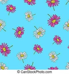 Pyrethrum daisy seamless pattern on blue background