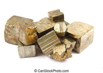 (pyrite, freigestellt, gold, mineral)