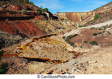 Pyrite mine open pit - Open mine pit, - Riotinto, Andalusia,...