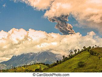 Pyroclastic Explosion Over Tungurahua Volcano Ecuador, South...