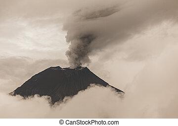 Pyroclastic Powerful Explosion, Tungurahua Volcano -...