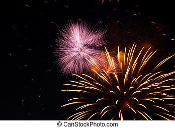 pyrotechnic, show., hell, feuerwerk, explosionen, in, der, nacht, sky.