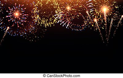 Pyrotechnics and fireworks background with animation on black background realistic vector illustration