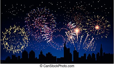 Pyrotechnics and fireworks in city background with city sky realistic vector illustration