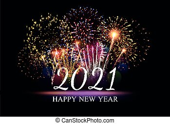 Pyrotechnics and fireworks poster with new year symbols on black background realistic vector illustration