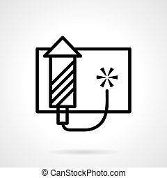 Pyrotechnics vector icon black simple line style