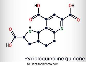 Pyrroloquinoline quinone, PQQ, methoxatin C14H6N2O8 molecule. It has a role as a water-soluble vitamin and a cofactor. Structural chemical formula