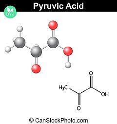 Pyruvic acid molecule, pyruvate, structural chemical formula...