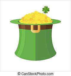 pyssling hatt, och, gold., grön hatt, topper, och, många, guld, pengar., fe, skatt, pysslingar, litet, dwarf., illustration, för, festmåltid, av, st., patrick, in, irland