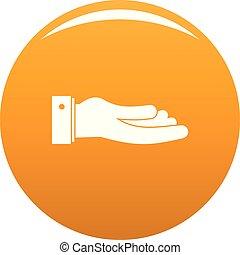 pytać, pomarańcza, wektor, ręka, ikona