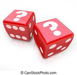 pytajniki, na, dwa, czerwony, jarzyna pokrajana w kostkę, niepewny, los