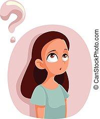 pytania, dziewczyna, naście, rysunek, posiadanie, o, dojrzałość płciowa