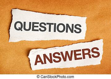 pytania, i, odpowiedzi, na, kawałek, papier