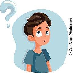 pytania, teen chłopiec, rysunek, posiadanie, o, dojrzałość płciowa