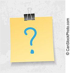 pytanie, żółta oznaka, nuta, dołączyć, papier, vector.