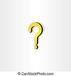 pytanie, żółta oznaka, wektor, element, ikona
