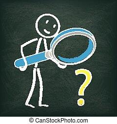 pytanie, loupe, stickman, tablica