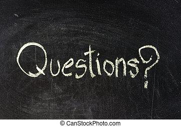 pytanie, pisemny, na, chalkboard