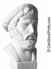 pythagoras, wiskundige, filosoof, griekse , belangrijk, muziek, geometer, theorist., was