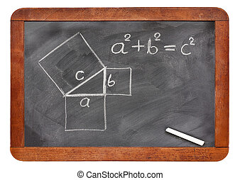 Pythagorean theorem sketched with white chalk on a vintage blackboard isolated on white