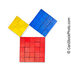 Pythagorean theorem shown with colorful wooden cubes, from above. Pythagoras theorem. Relation of sides of a right triangle. The two smaller squares together have the same area than the big one. Photo