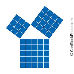 Pythagorean theorem shown with subdivided blue squares. Pythagoras theorem. Relation of sides of right triangle. The smaller squares together have the same area than the big one. Illustration. Vector.