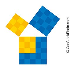 Pythagorean theorem shown with subdivided colored squares. Pythagoras theorem. Relation of the sides of a right triangle. The two smaller squares together have the same area than the big one. Vector.